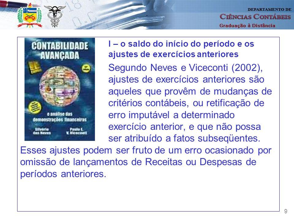 9 I – o saldo do início do período e os ajustes de exercícios anteriores Segundo Neves e Viceconti (2002), ajustes de exercícios anteriores são aquele