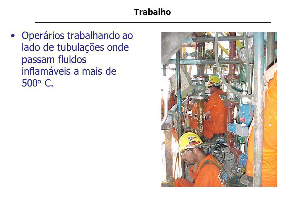Trabalho Operários trabalhando ao lado de tubulações onde passam fluidos inflamáveis a mais de 500 o C.