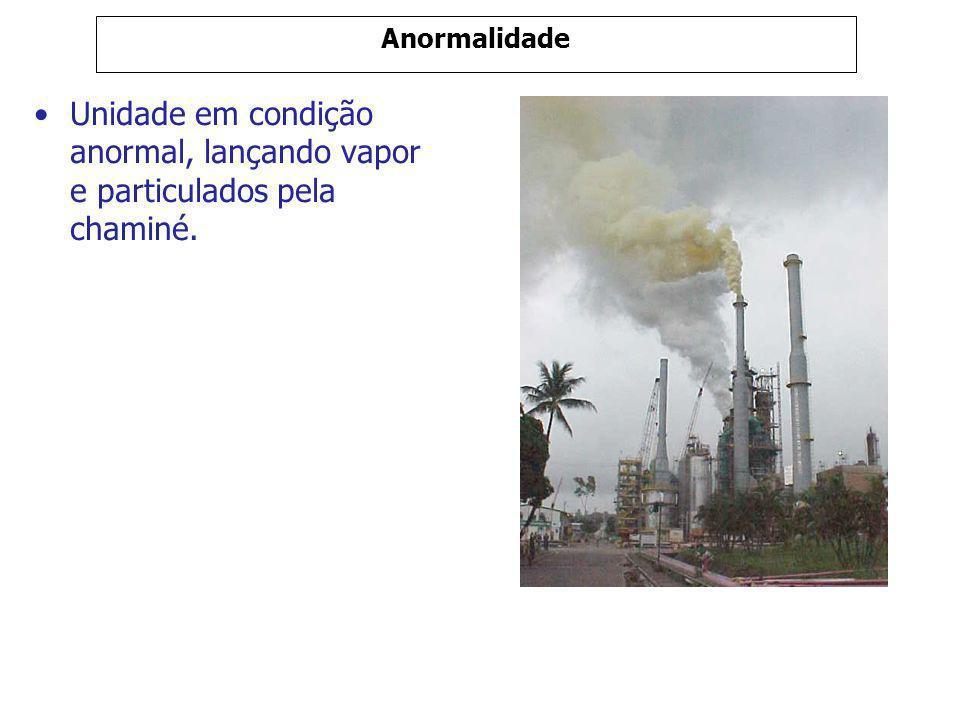Anormalidade Unidade em condição anormal, lançando vapor e particulados pela chaminé.