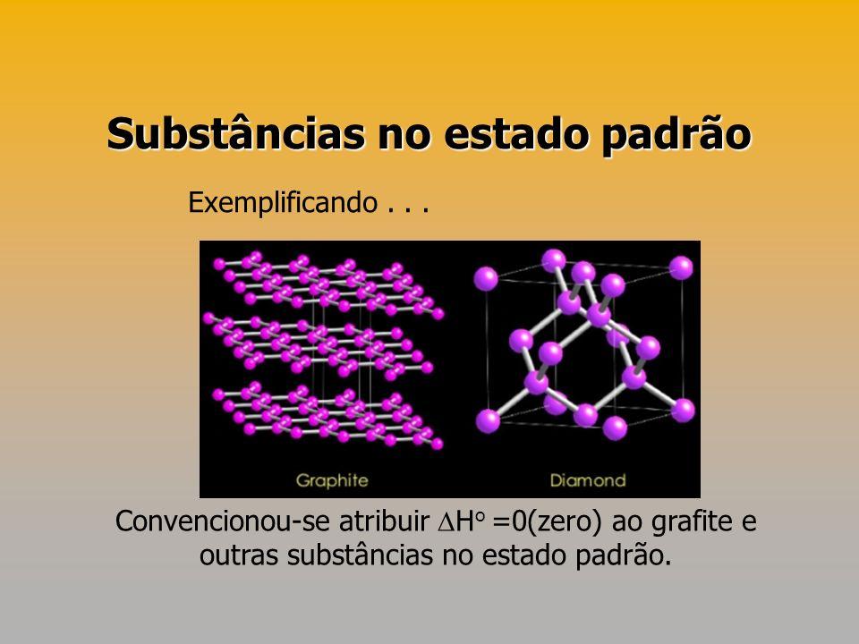 Substâncias no estado padrão Convencionou-se atribuir H o =0(zero) ao grafite e outras substâncias no estado padrão. Exemplificando...
