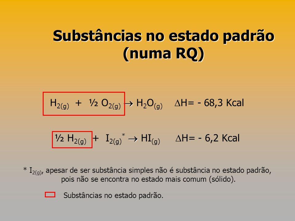 H 2(g) + ½ O 2(g) H 2 O (g) H= - 68,3 Kcal ½ H 2(g) + I 2(g) * HI (g) H= - 6,2 Kcal Substâncias no estado padrão (numa RQ) * I 2(g), apesar de ser sub