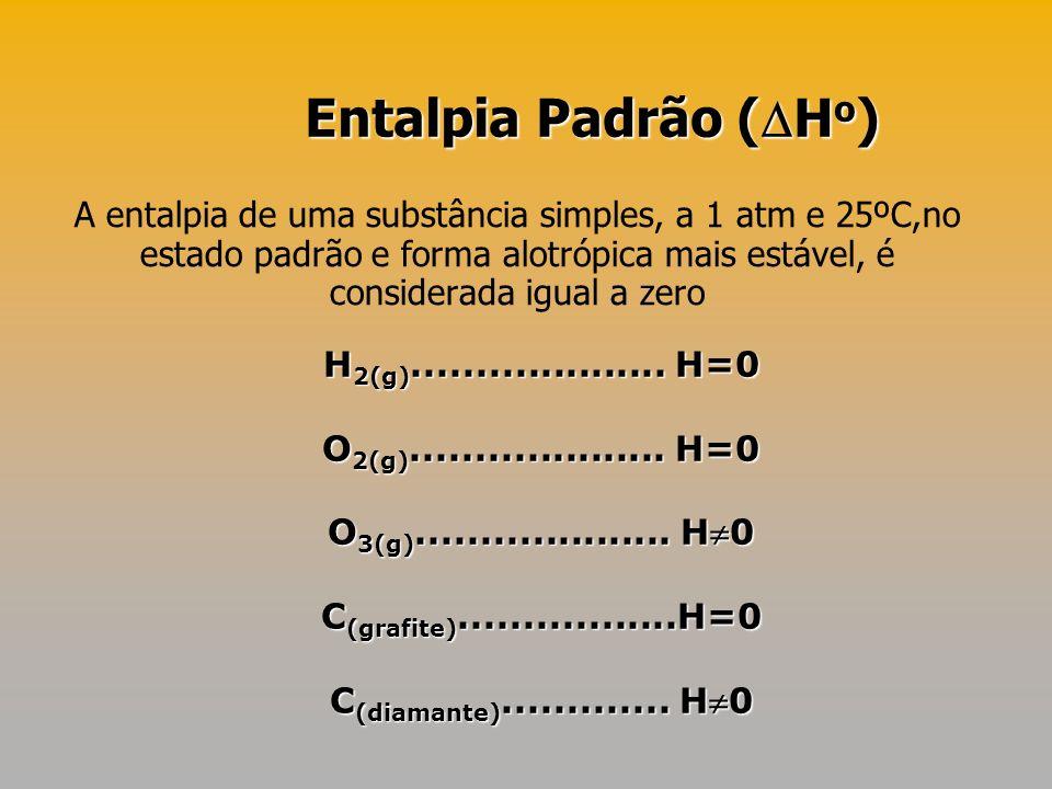 A entalpia de uma substância simples, a 1 atm e 25ºC,no estado padrão e forma alotrópica mais estável, é considerada igual a zero H 2(g)..............