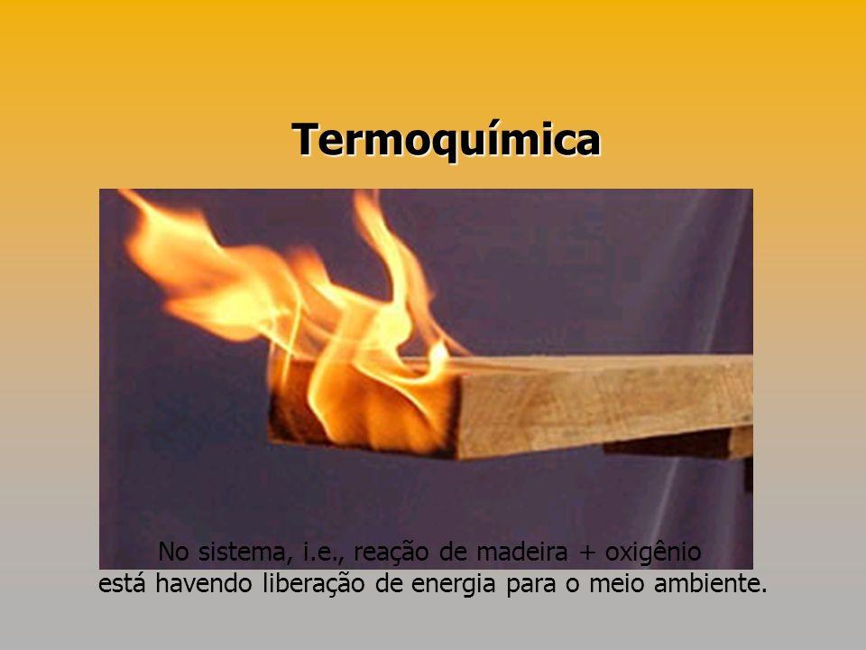 Termoquímica No sistema, i.e., reação de madeira + oxigênio está havendo liberação de energia para o meio ambiente.