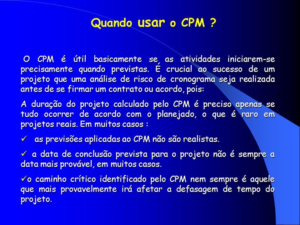 O CPM é útil basicamente se as atividades iniciarem-se precisamente quando previstas. É crucial ao sucesso de um projeto que uma análise de risco de c