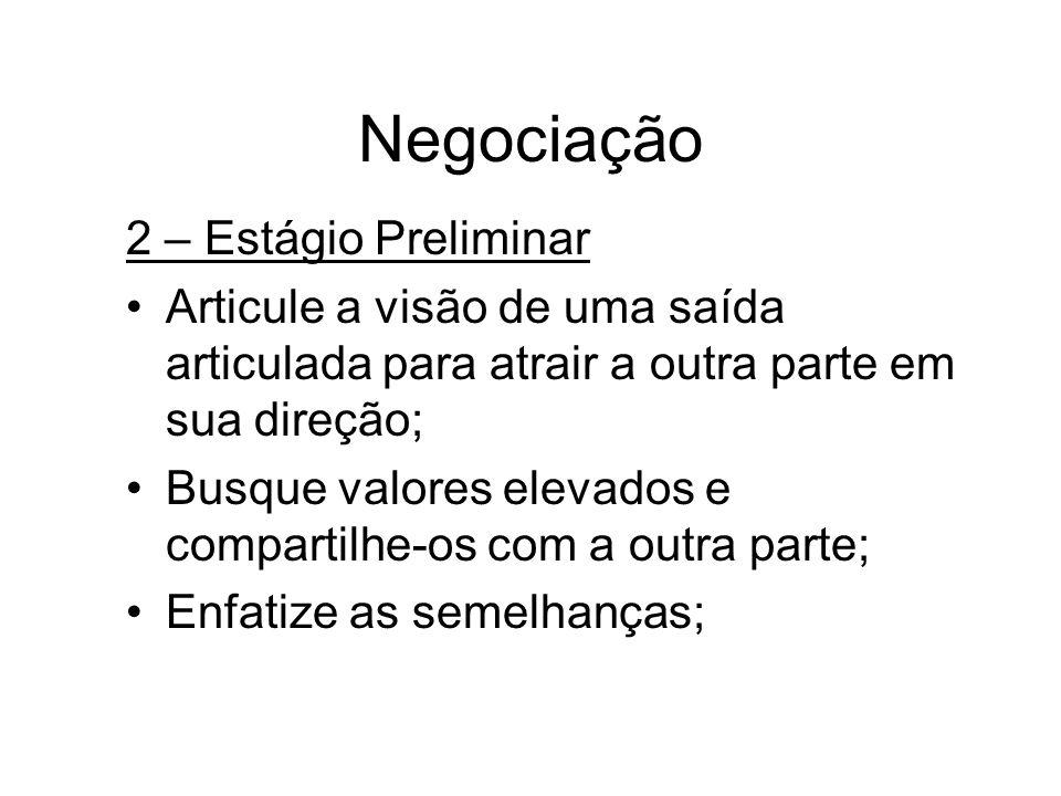 Negociação 2 – Estágio Preliminar Articule a visão de uma saída articulada para atrair a outra parte em sua direção; Busque valores elevados e compart