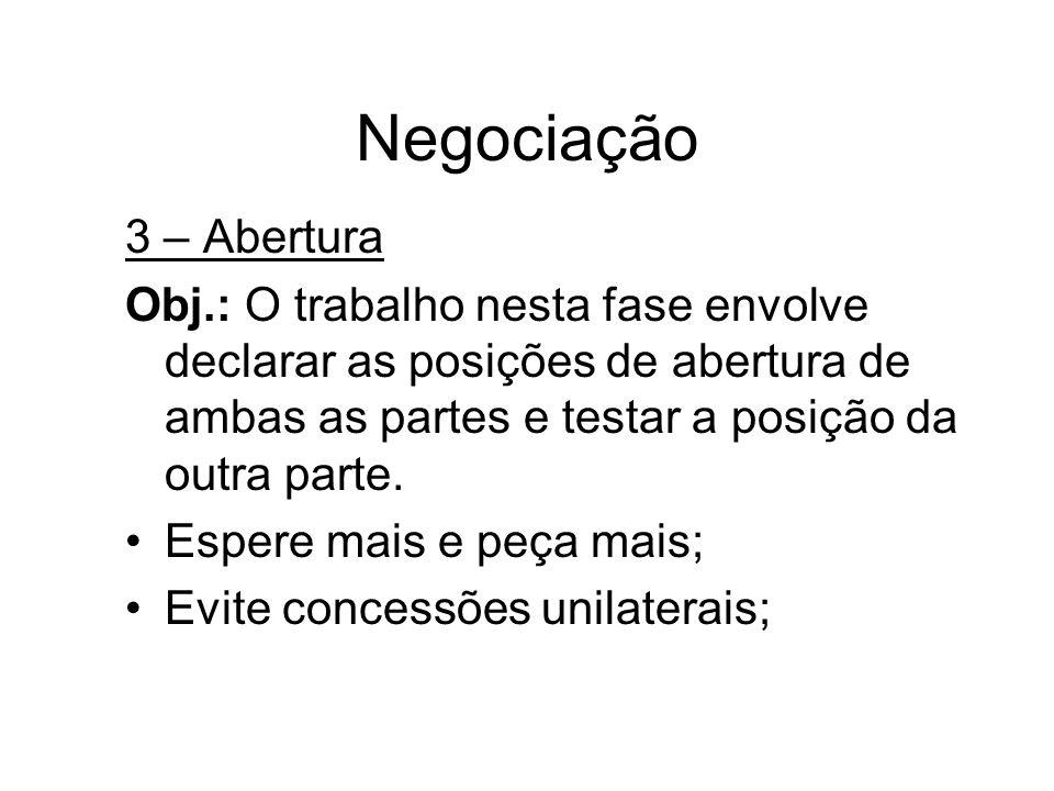 Negociação 3 – Abertura Obj.: O trabalho nesta fase envolve declarar as posições de abertura de ambas as partes e testar a posição da outra parte. Esp
