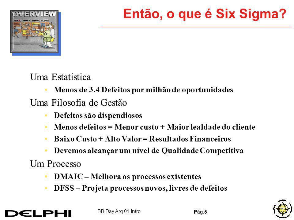 BB Day Arq 01 Intro Pág.4 Discutindo os Mitos O Six Sigma é algo da manufatura, sem aplicação na engenharia, finanças, RH. etc. Não é verdade. Muitos