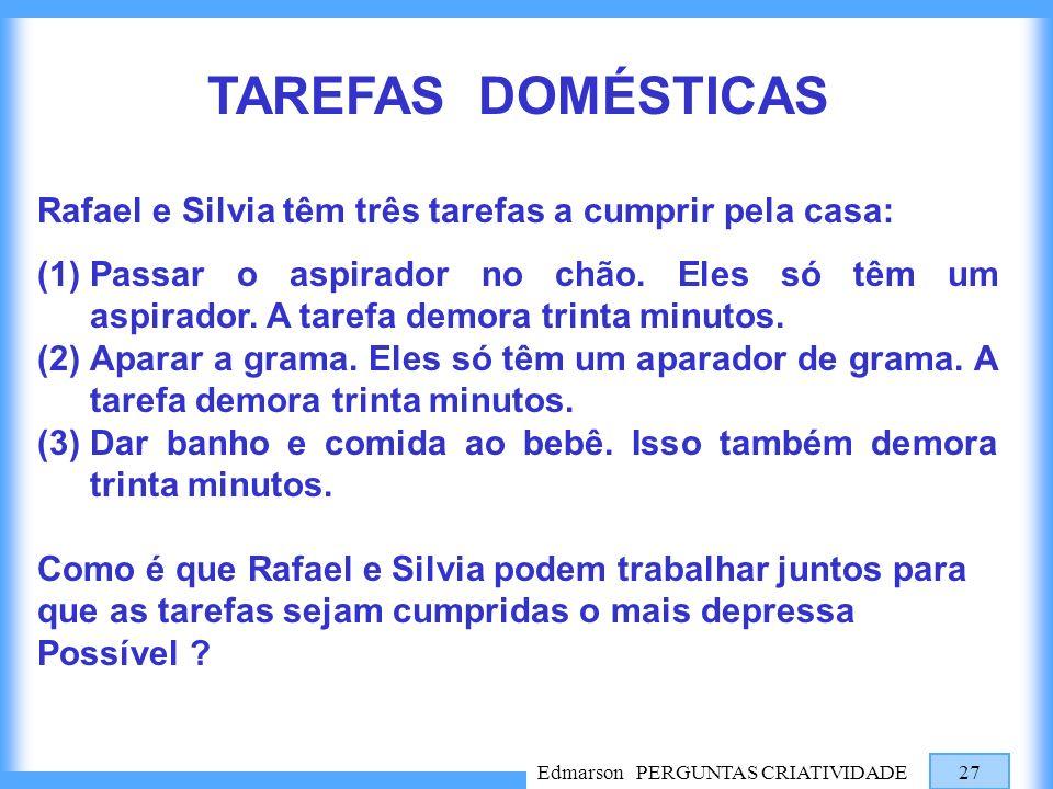 Edmarson PERGUNTAS CRIATIVIDADE 27 TAREFAS DOMÉSTICAS Rafael e Silvia têm três tarefas a cumprir pela casa: (1)Passar o aspirador no chão. Eles só têm