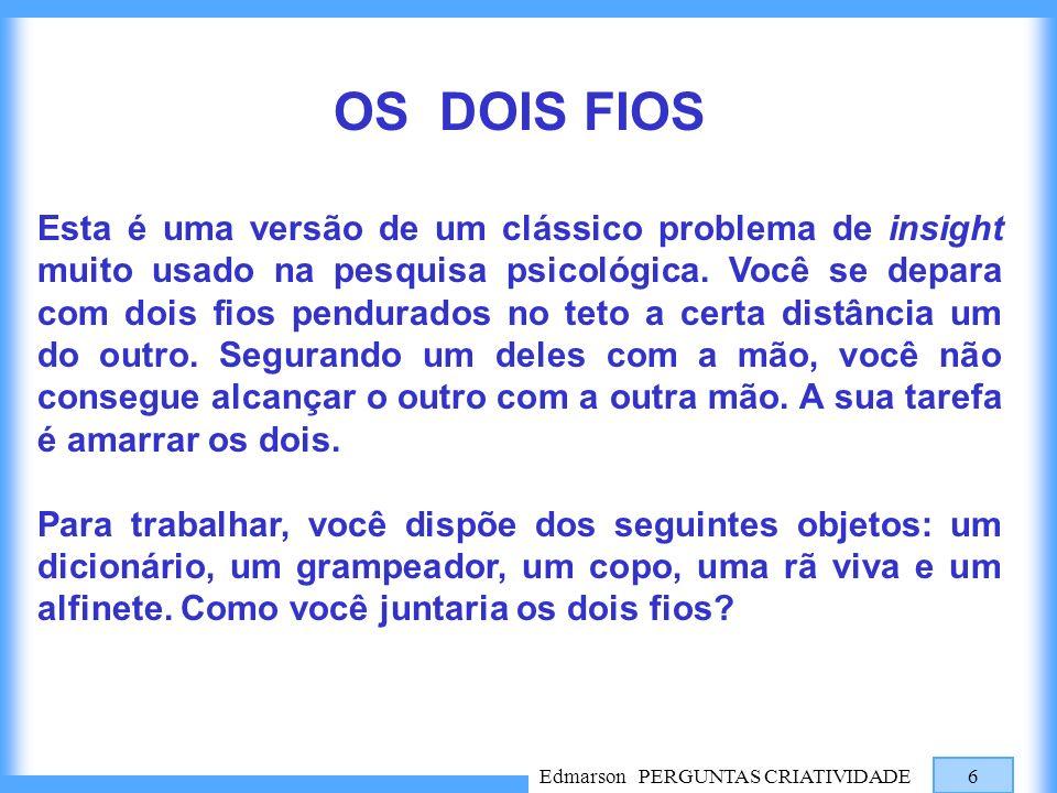 Edmarson PERGUNTAS CRIATIVIDADE 6 OS DOIS FIOS Esta é uma versão de um clássico problema de insight muito usado na pesquisa psicológica. Você se depar
