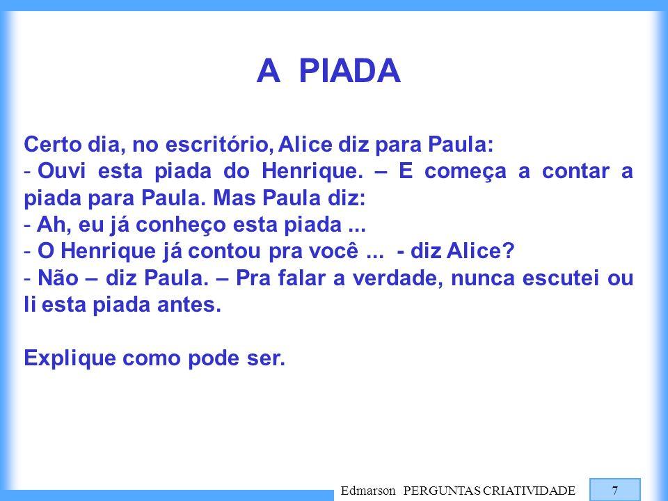 Edmarson PERGUNTAS CRIATIVIDADE 7 A PIADA Certo dia, no escritório, Alice diz para Paula: - Ouvi esta piada do Henrique. – E começa a contar a piada p