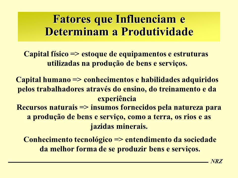 NRZ Fatores que Influenciam e Determinam a Produtividade Capital físico => estoque de equipamentos e estruturas utilizadas na produção de bens e servi
