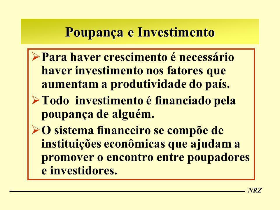 NRZ Poupança e Investimento Para haver crescimento é necessário haver investimento nos fatores que aumentam a produtividade do país. Todo investimento