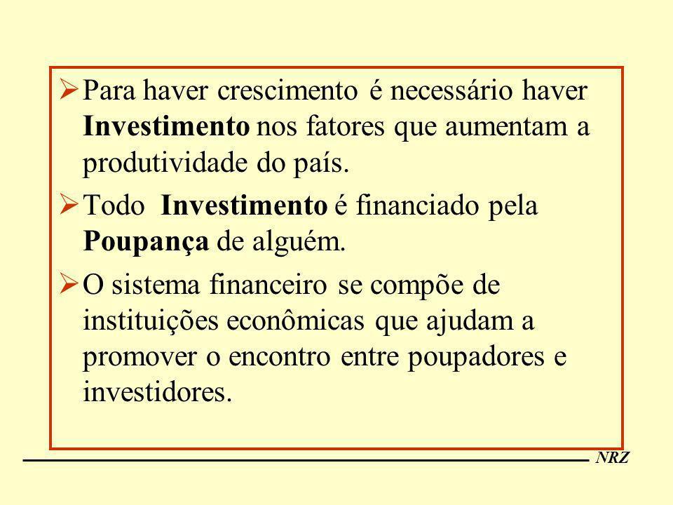 NRZ Para haver crescimento é necessário haver Investimento nos fatores que aumentam a produtividade do país. Todo Investimento é financiado pela Poupa