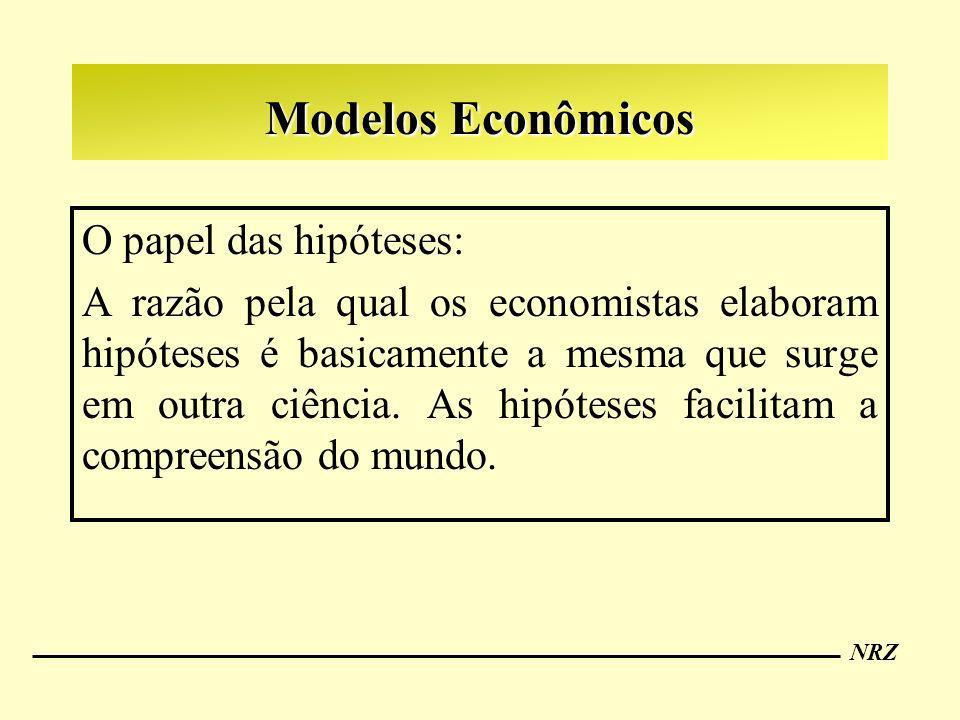 NRZ Modelos Econômicos O papel das hipóteses: A razão pela qual os economistas elaboram hipóteses é basicamente a mesma que surge em outra ciência. As