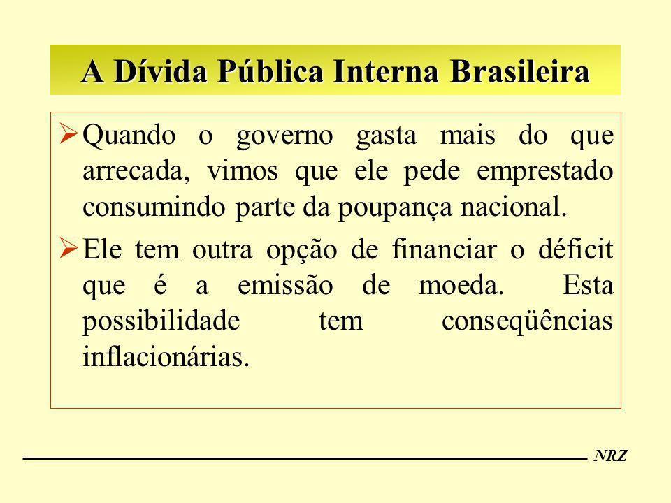 NRZ A Dívida Pública Interna Brasileira Quando o governo gasta mais do que arrecada, vimos que ele pede emprestado consumindo parte da poupança nacion
