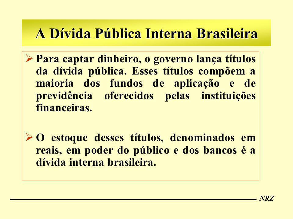 NRZ A Dívida Pública Interna Brasileira Para captar dinheiro, o governo lança títulos da dívida pública. Esses títulos compõem a maioria dos fundos de