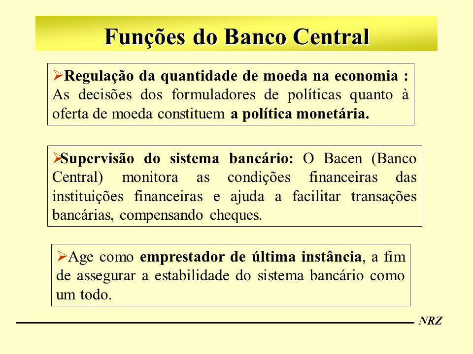 NRZ Funções do Banco Central Supervisão do sistema bancário: O Bacen (Banco Central) monitora as condições financeiras das instituições financeiras e