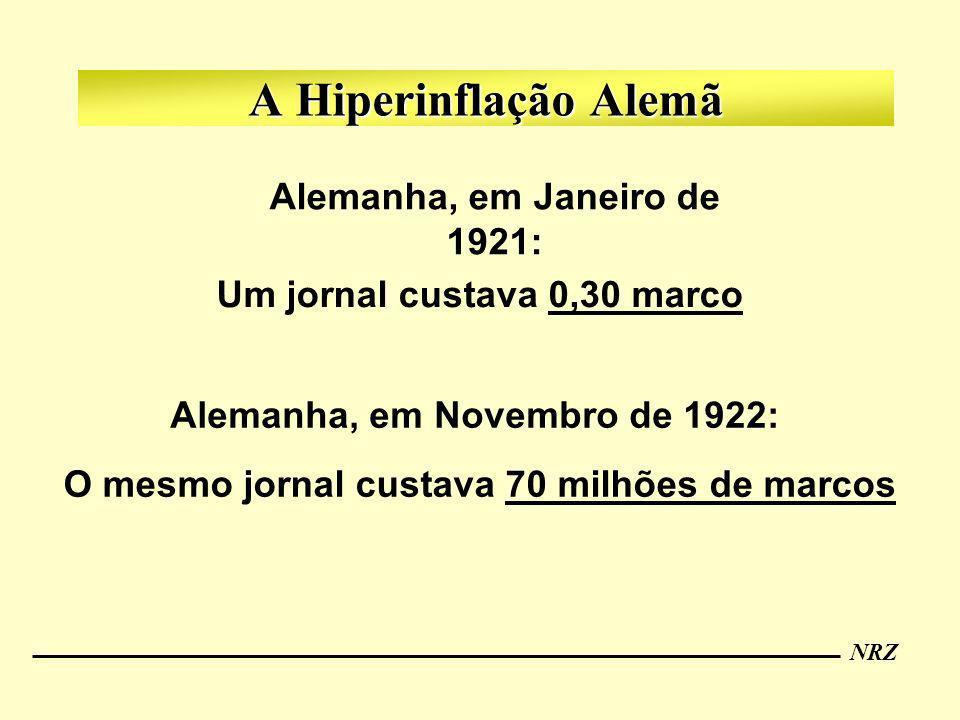 A Hiperinflação Alemã Alemanha, em Janeiro de 1921: Um jornal custava 0,30 marco Alemanha, em Novembro de 1922: O mesmo jornal custava 70 milhões de m
