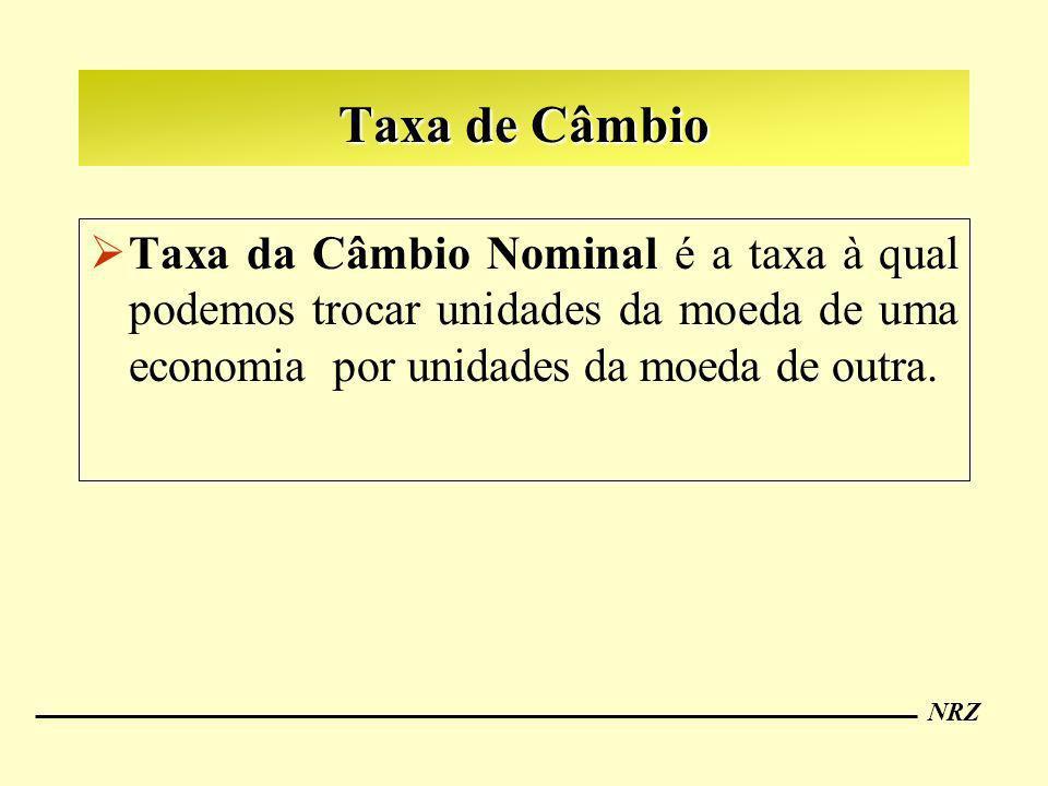 NRZ Taxa de Câmbio Taxa da Câmbio Nominal é a taxa à qual podemos trocar unidades da moeda de uma economia por unidades da moeda de outra.