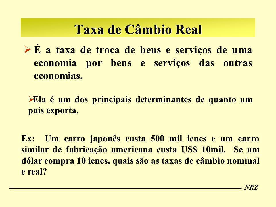 NRZ Taxa de Câmbio Real É a taxa de troca de bens e serviços de uma economia por bens e serviços das outras economias. Ex: Um carro japonês custa 500