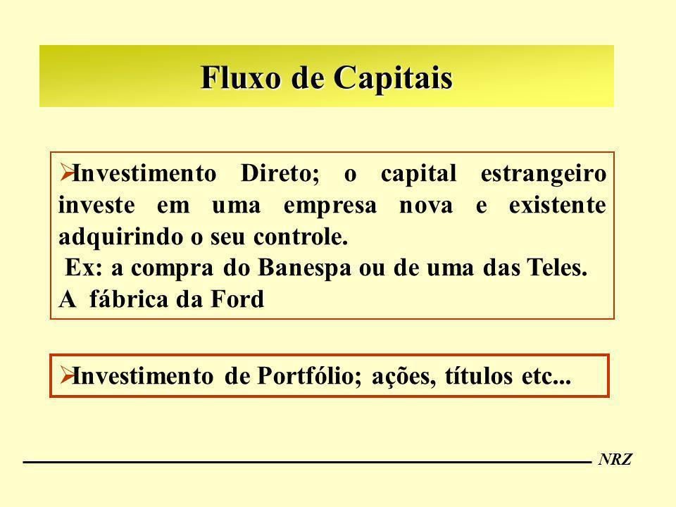 NRZ Fluxo de Capitais Investimento Direto; o capital estrangeiro investe em uma empresa nova e existente adquirindo o seu controle. Ex: a compra do Ba