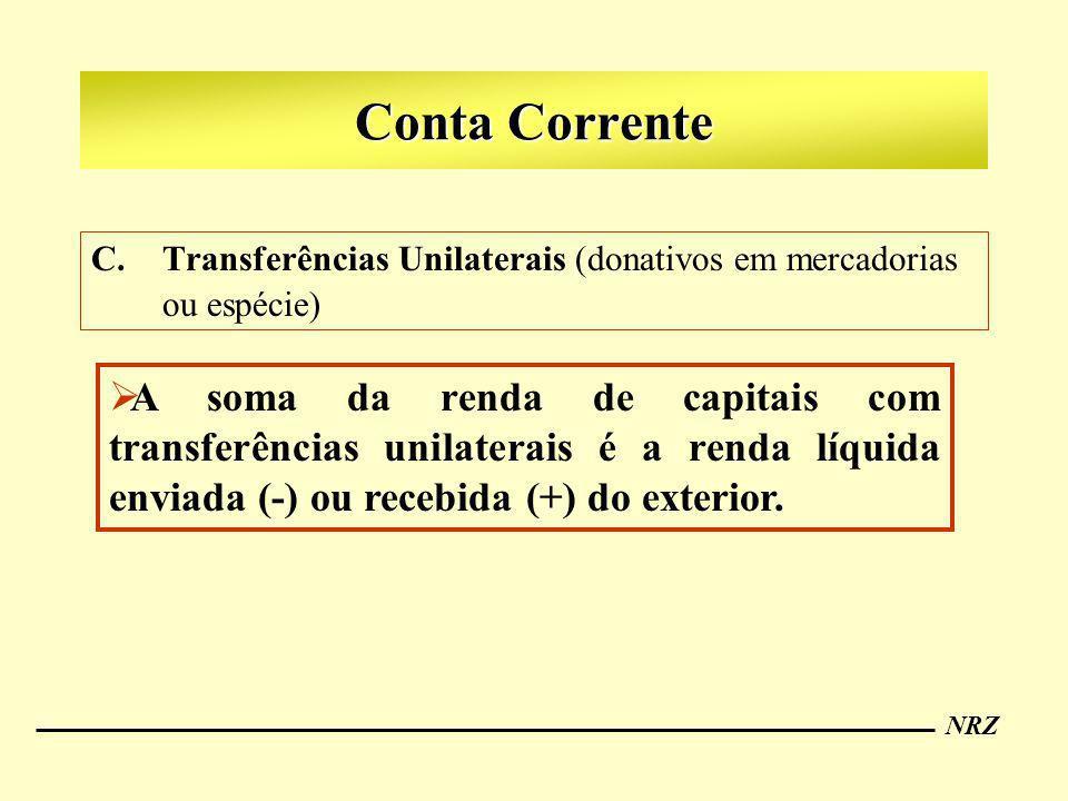 NRZ Conta Corrente C.Transferências Unilaterais (donativos em mercadorias ou espécie) A soma da renda de capitais com transferências unilaterais é a r