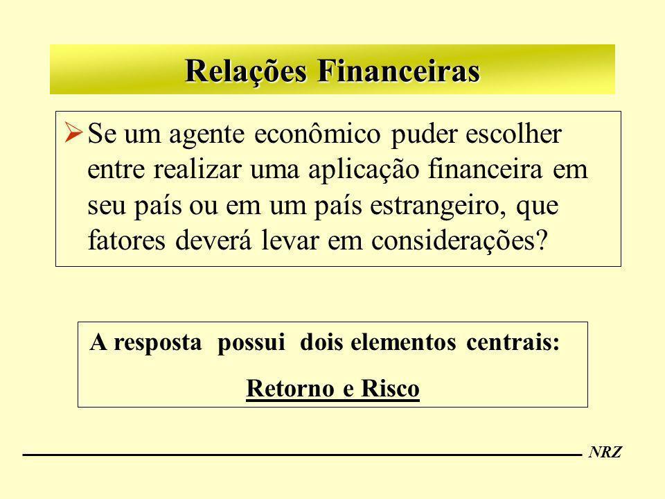 NRZ Relações Financeiras Se um agente econômico puder escolher entre realizar uma aplicação financeira em seu país ou em um país estrangeiro, que fato