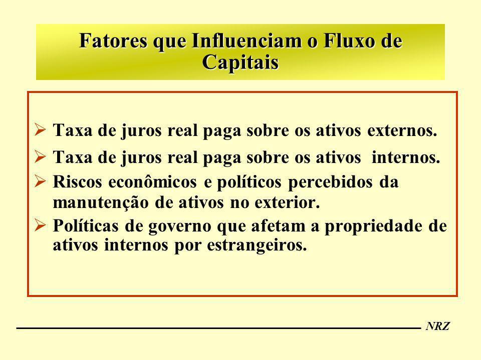 NRZ Fatores que Influenciam o Fluxo de Capitais Taxa de juros real paga sobre os ativos externos. Taxa de juros real paga sobre os ativos internos. Ri