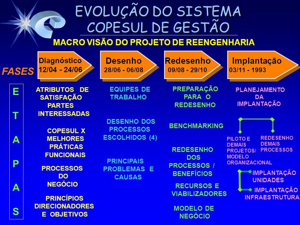 EVOLUÇÃO DO SISTEMA COPESUL DE GESTÃO MACRO VISÃO DO PROJETO DE REENGENHARIA PRINCÍPIOS DIRECIONADORES E OBJETIVOS ATRIBUTOS DE SATISFAÇÃO PARTES INTE