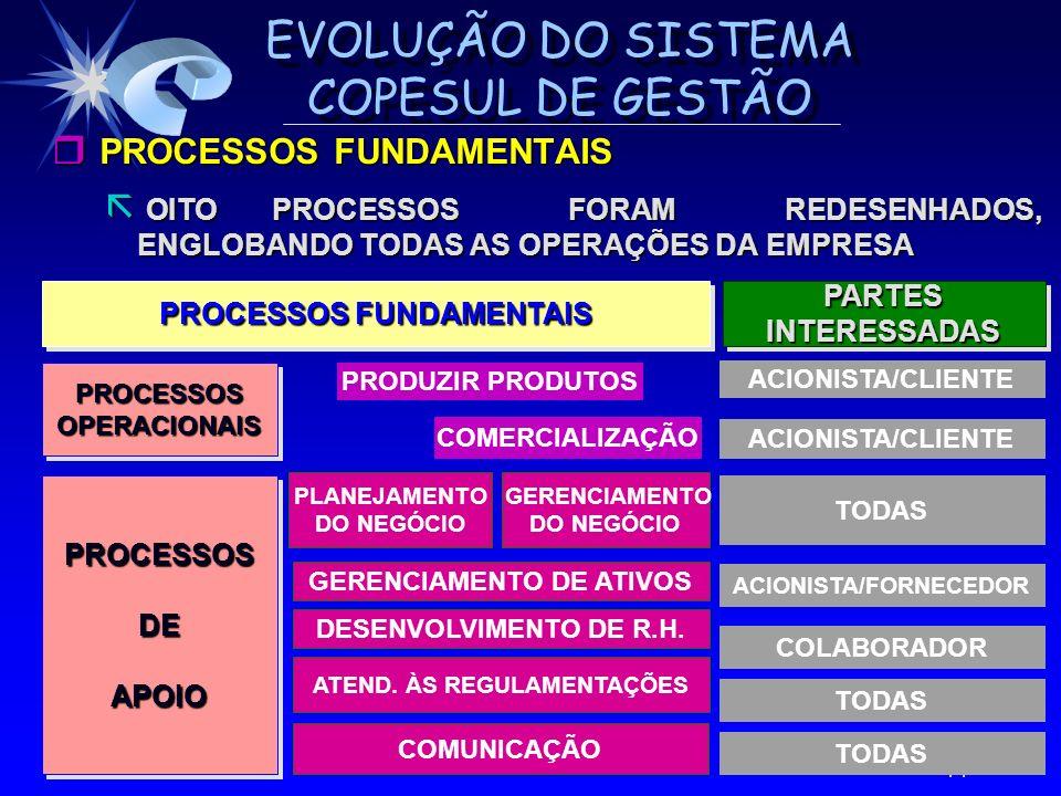 EVOLUÇÃO DO SISTEMA COPESUL DE GESTÃO r PROCESSOS FUNDAMENTAIS ã OITO PROCESSOS FORAM REDESENHADOS, ENGLOBANDO TODAS AS OPERAÇÕES DA EMPRESA 14 TODAS