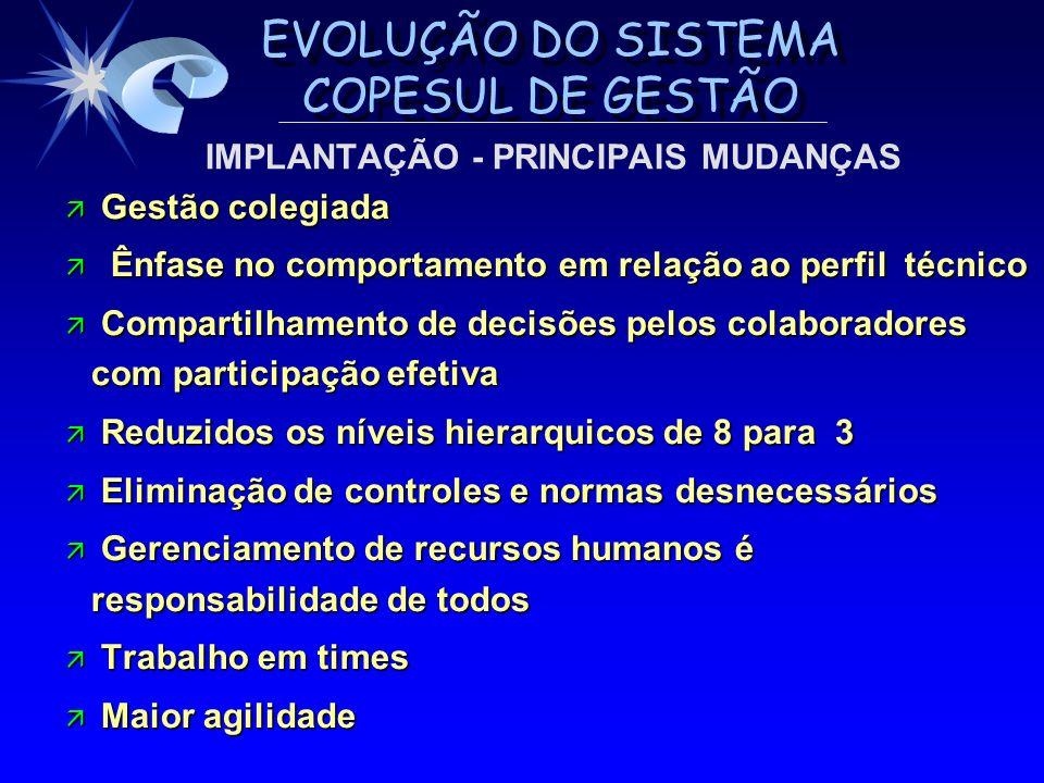 EVOLUÇÃO DO SISTEMA COPESUL DE GESTÃO ä Gestão colegiada ä Ênfase no comportamento em relação ao perfil técnico ä Compartilhamento de decisões pelos c