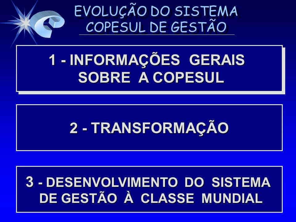EVOLUÇÃO DO SISTEMA COPESUL DE GESTÃO BASE DO SISTEMA COPESUL DE GESTÃO - CÍRCULO VIRTUOSO BASE DO SISTEMA COPESUL DE GESTÃO - CÍRCULO VIRTUOSO ATENDIMENTO EQUILIBRADO DAS PARTES INTERESSADAS ATENDIMENTO EQUILIBRADO DAS PARTES INTERESSADAS (*) (*) Comunidade e fornecedores são atendidos como decorrência PESSOAL MOTIVADO E DEDICADO PRODUTOS E SERVIÇOS DE QUALIDADE CLIENTE SATISFEITO MAIOR FIDELIDADE DE CLIENTES CRESCIMENTO E MELHORES RESULTADOS MAIORES INVESTIMENTOS INVESTIMENTOS EM R.H.