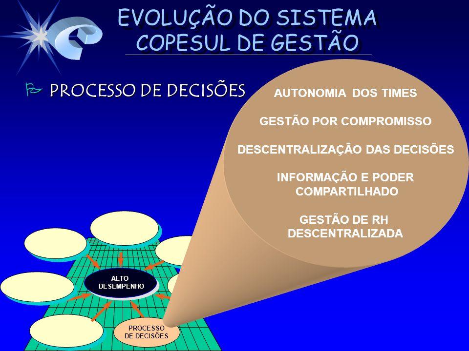 EVOLUÇÃO DO SISTEMA COPESUL DE GESTÃO ALTO DESEMPENHO DESEMPENHOALTO PROCESSO DE DECISÕES PROCESSO DE DECISÕES PROCESSO DE DECISÕES AUTONOMIA DOS TIME
