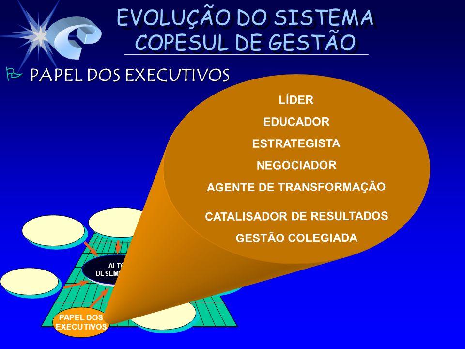 EVOLUÇÃO DO SISTEMA COPESUL DE GESTÃO ALTO DESEMPENHO DESEMPENHOALTO PAPEL DOS EXECUTIVOS LÍDER EDUCADOR ESTRATEGISTA NEGOCIADOR AGENTE DE TRANSFORMAÇ
