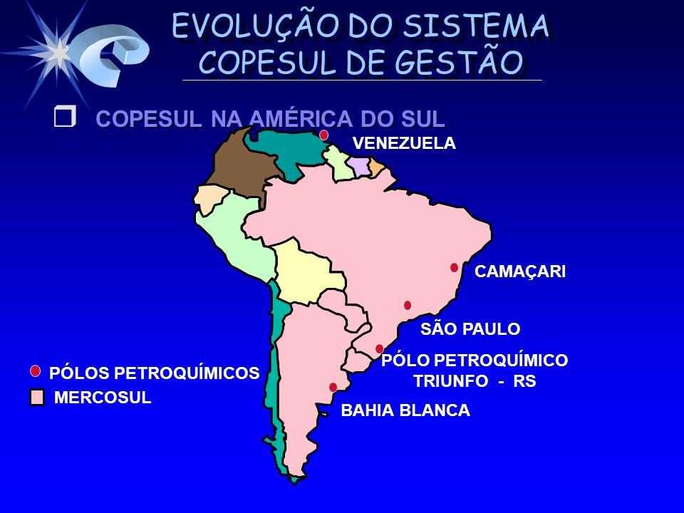 EVOLUÇÃO DO SISTEMA COPESUL DE GESTÃO PORTO ALEGRE GUAÍBA TRIUNFO SÃO LEOPOLDO CHARQUEADAS CANOAS ESTEIO MONTENEGRO ÁREA DE PROTEÇÃO AMBIENTAL CANAL HIDROVIÁRIO CIDADES ÁREA DO COMPLEXO BÁSICO OLEODUTO REFAP/COPESUL ESTRADAS ÁREA INDUSTRIAL - 3 a GERAÇÃO