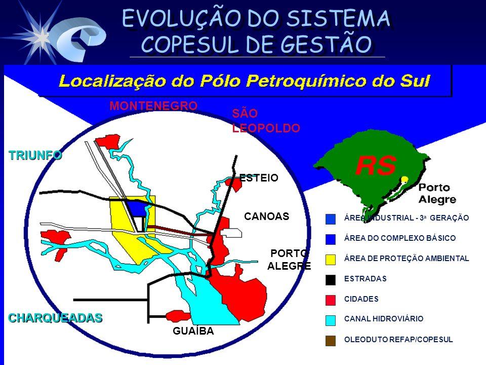 EVOLUÇÃO DO SISTEMA COPESUL DE GESTÃO ESTRUTURA DA INDÚSTRIA PETROQUÍMICA ESTRUTURA DA INDÚSTRIA PETROQUÍMICA REFINARIA PETRÓLEO PETROQUÍMICABÁSICA 2ª GERAÇÃO INDÚSTRIAS DE TRANSFORMAÇÃO PRODUTOS FINAIS AO CONSUMIDOR COPESUL NAFTA ETENO PROPENO BUTADIENO AROMÁTICOS POLIETILENOS POLIPROPILENO PVC SBR PRODUTOS PLÁSTICOS PNEUS AGROQUÍMICOS VESTUÁRIO TINTAS PAINÉIS MATÉRIAS-PRIMAS PÓLO PETROQUÍMICO DO SUL