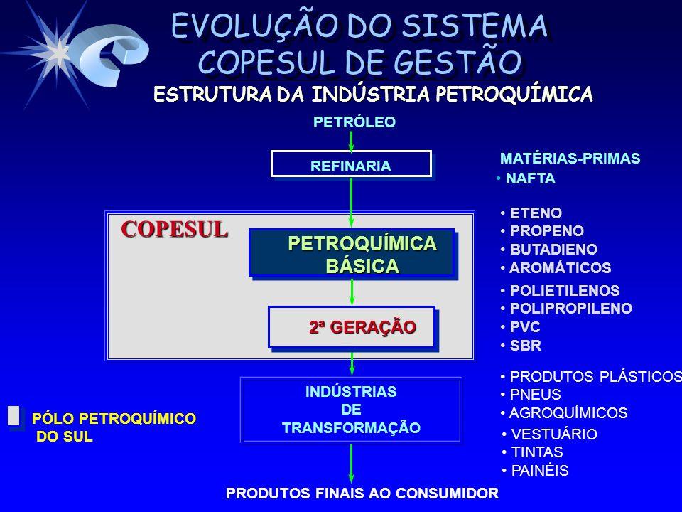 EVOLUÇÃO DO SISTEMA COPESUL DE GESTÃO ESTRATÉGIA DE IMPLANTAÇÃO GARANTIR CONTINUIDADE OPERACIONAL DA EMPRESA GARANTIR CONTINUIDADE OPERACIONAL DA EMPRESA IMPLEMENTAR POR PROJETOS IMPLEMENTAR POR PROJETOS Unidade Piloto como efeito demonstração Unidade Piloto como efeito demonstração Demais Unidades Demais Unidades Projetos suportes Projetos suportes – Tecnologia de informação – Processo Recursos Humanos – Sistema de custos – Otimização da relação com os fornecedores – Programa COPESUL de qualidade e produtividade