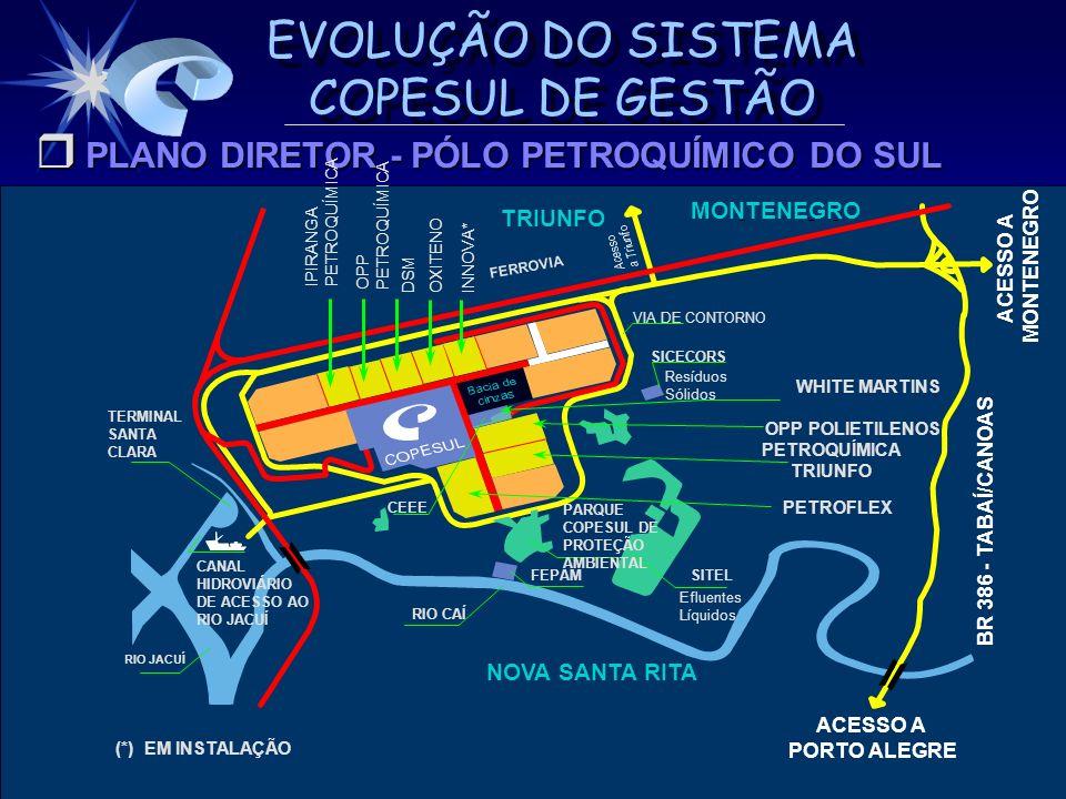 EVOLUÇÃO DO SISTEMA COPESUL DE GESTÃO AVALIAÇÃO POR EXAMINADORES EXTERNOS 2 13 6 5 4 Exemplaridade Adequação Maturidade Refinamento 50 60 70 80 90 1 2 3 4 5 6 PNQ 97 PNQ 2000 1-LIDERANÇA 2-PLANEJAMENTO ESTRATÉGICO 3-FOCO NO CLIENTE/MERCADO 4-INFORMAÇÃO E ANÁLISE 5-GESTÃO DAS PESSOAS 6-GESTÃO DE PROCESSOS % O SCG EVOLUIU DE 67% DE ATENDIMENTO PARA 72%