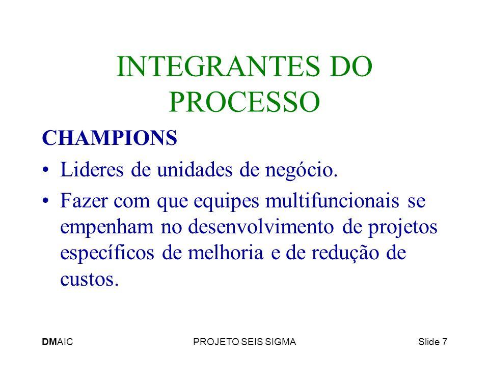 DMAICPROJETO SEIS SIGMASlide 7 INTEGRANTES DO PROCESSO CHAMPIONS Lideres de unidades de negócio. Fazer com que equipes multifuncionais se empenham no