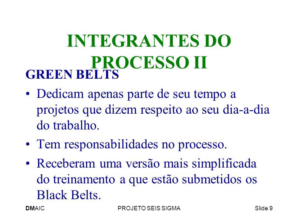 DMAICPROJETO SEIS SIGMASlide 9 INTEGRANTES DO PROCESSO II GREEN BELTS Dedicam apenas parte de seu tempo a projetos que dizem respeito ao seu dia-a-dia