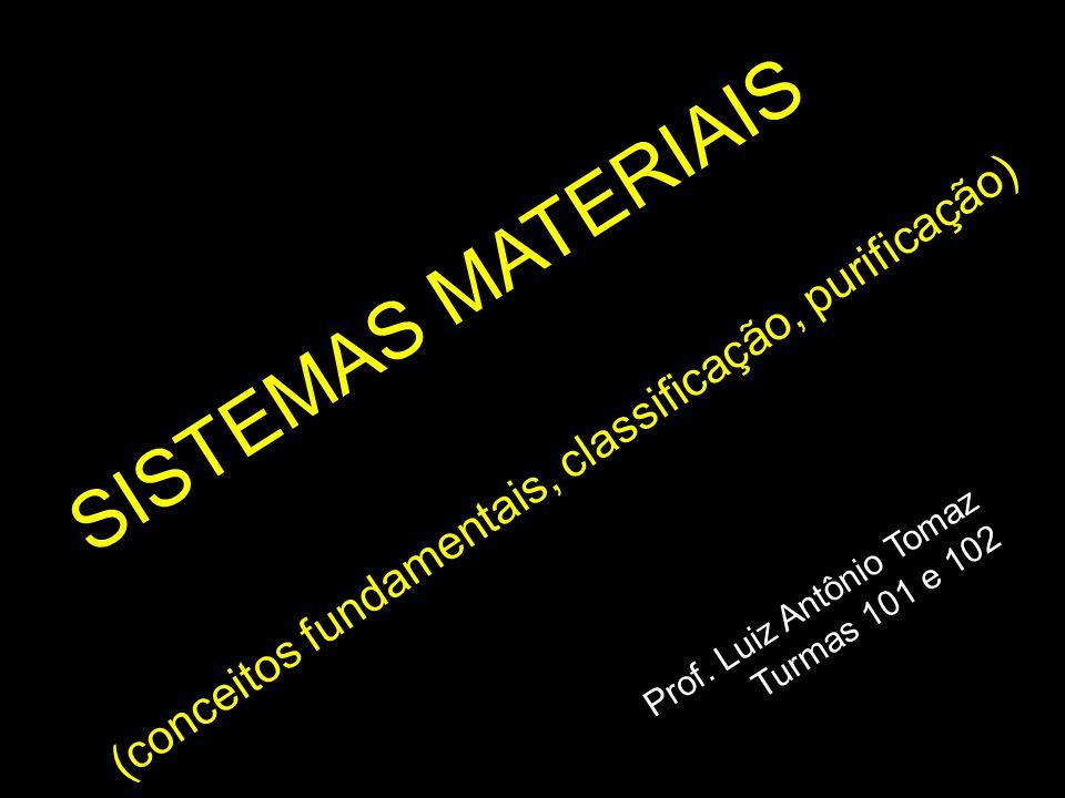 SISTEMAS MATERIAIS Prof. Luiz Antônio Tomaz Turmas 101 e 102 (conceitos fundamentais, classificação, purificação)