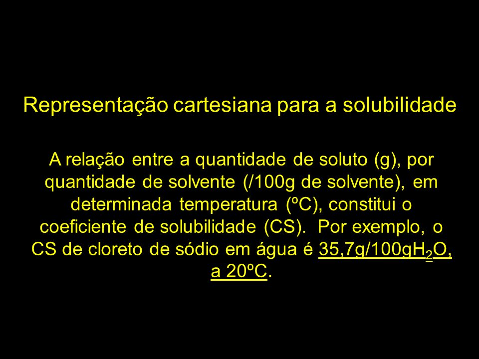 Representação cartesiana para a solubilidade A relação entre a quantidade de soluto (g), por quantidade de solvente (/100g de solvente), em determinad