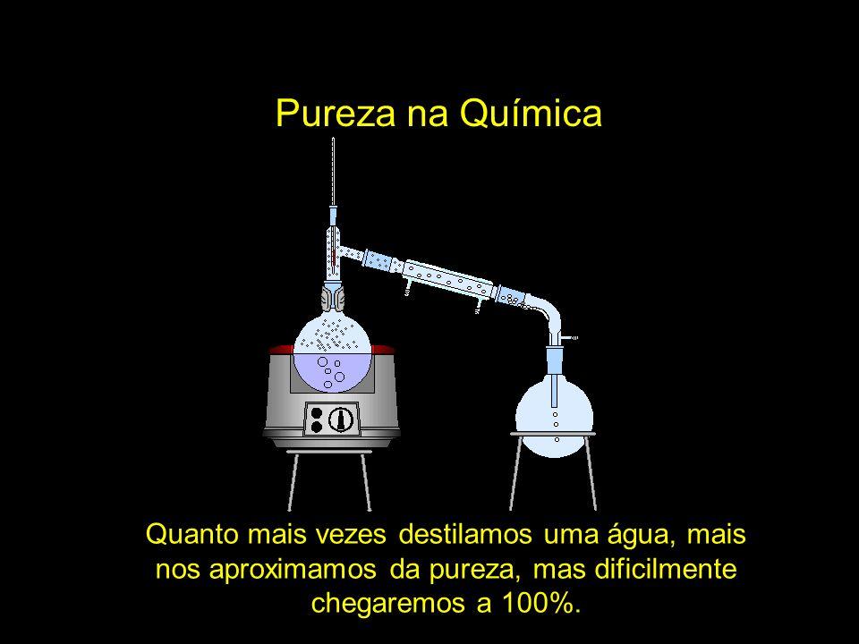 Quanto mais vezes destilamos uma água, mais nos aproximamos da pureza, mas dificilmente chegaremos a 100%.