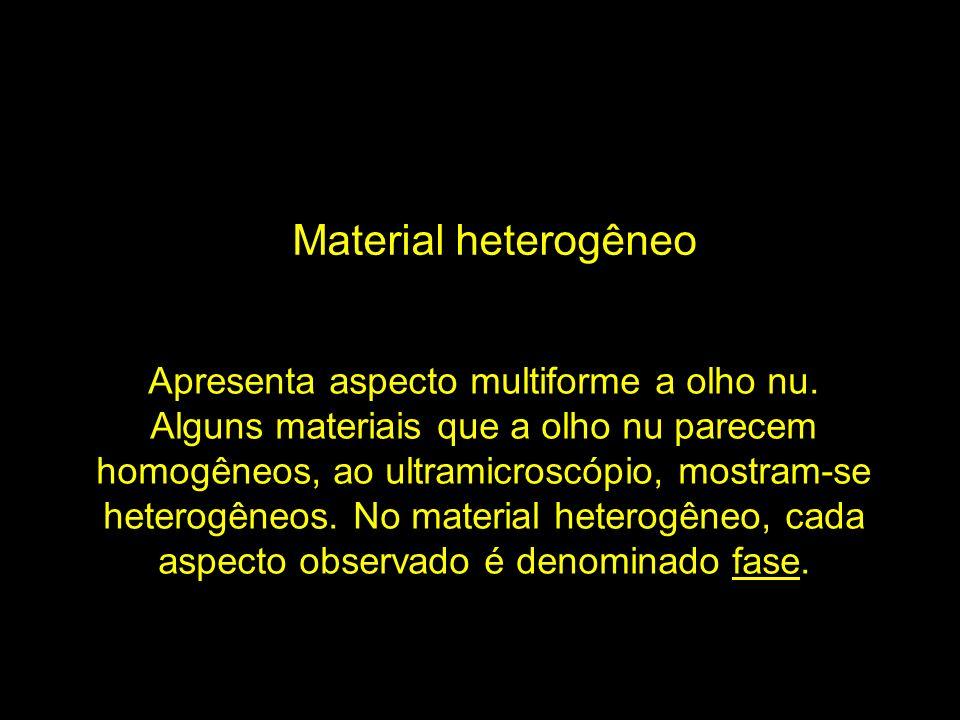 Material heterogêneo Apresenta aspecto multiforme a olho nu. Alguns materiais que a olho nu parecem homogêneos, ao ultramicroscópio, mostram-se hetero