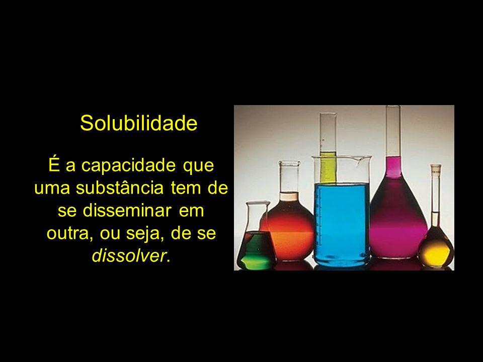 É a capacidade que uma substância tem de se disseminar em outra, ou seja, de se dissolver. Solubilidade
