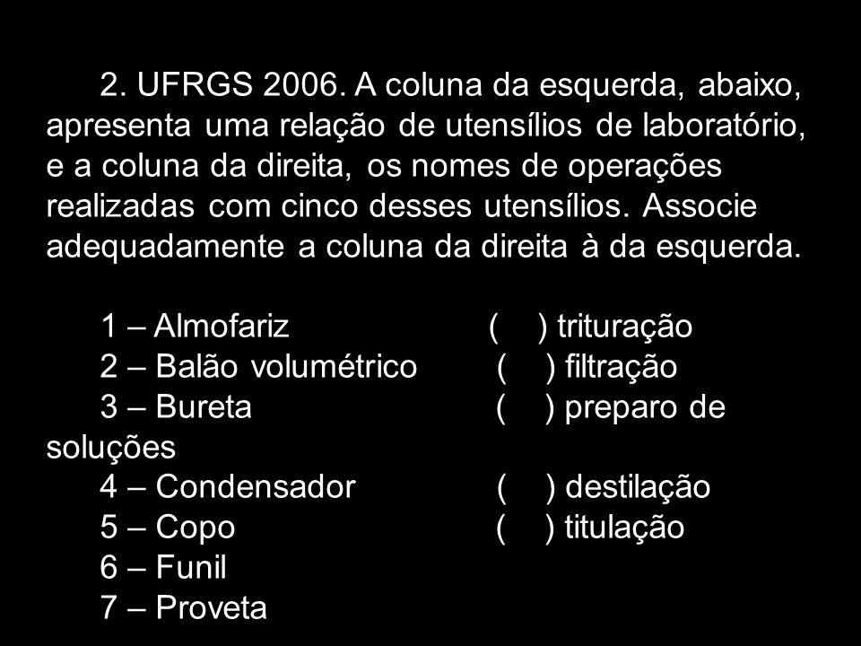 2. UFRGS 2006. A coluna da esquerda, abaixo, apresenta uma relação de utensílios de laboratório, e a coluna da direita, os nomes de operações realizad