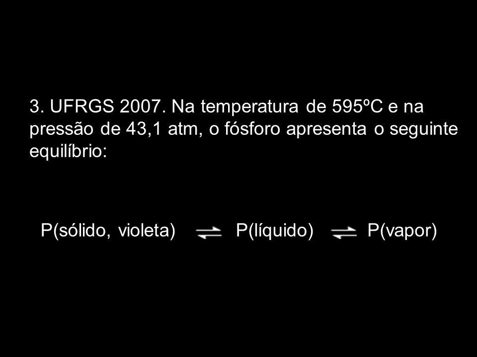 3. UFRGS 2007. Na temperatura de 595ºC e na pressão de 43,1 atm, o fósforo apresenta o seguinte equilíbrio: P(sólido, violeta)P(líquido)P(vapor)