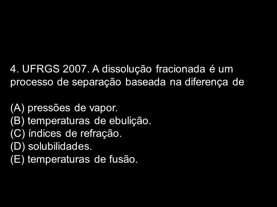 4. UFRGS 2007. A dissolução fracionada é um processo de separação baseada na diferença de (A) pressões de vapor. (B) temperaturas de ebulição. (C) índ