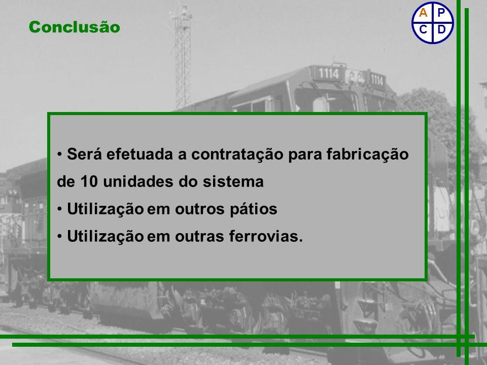 Conclusão Será efetuada a contratação para fabricação de 10 unidades do sistema Utilização em outros pátios Utilização em outras ferrovias. P CD A