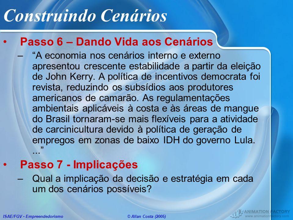 ISAE/FGV - Empreendedorismo© Allan Costa (2005) Construindo Cenários Passo 6 – Dando Vida aos Cenários –A economia nos cenários interno e externo apre